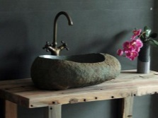 Stone wash basin in the bathroom