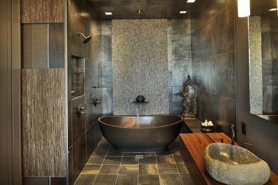 Stone sinks in the bathroom with eco - style