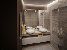 Suitable interior bathroom with sinks made ​​of artificial stone