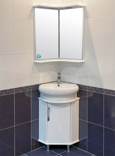 Corner sink with cupboard and mirror cabinet