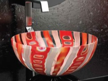 Sink made ​​of colored glass