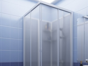 Shower cubicle with hydromassage polystyrene