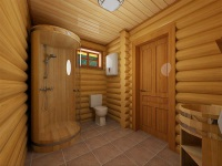 Shower in a wooden house