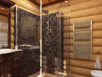 Glass shower in a wooden house