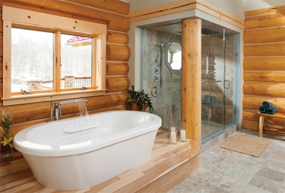Large shower in a wooden house