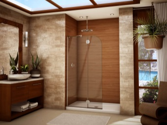 Shower in a beautiful wooden house