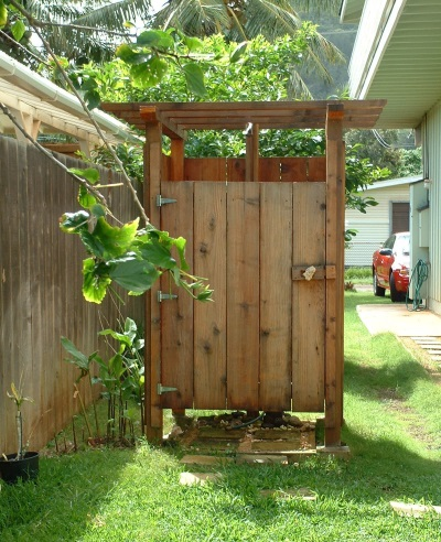 Simple outdoor shower for the garden