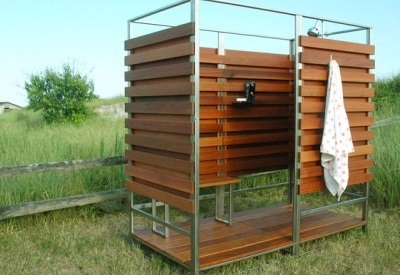 Wooden outdoor shower on a metal frame