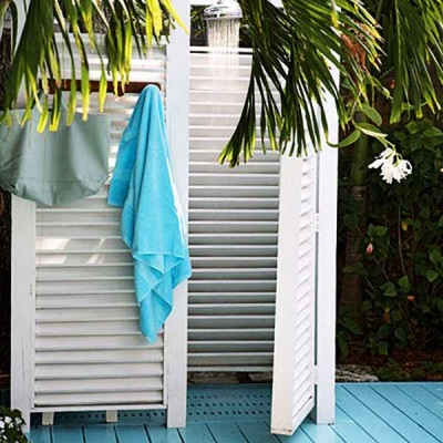 Plastic outdoor shower