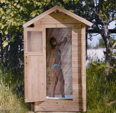 Enclosed outdoor shower for the garden