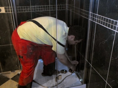 Repair plumbing in the shower
