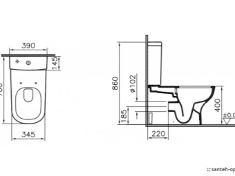 rimless mounting suspended toilet scheme