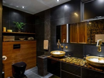 Style bathroom with black toilet bowl