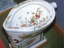 Decoupage in the design of the toilet bowl