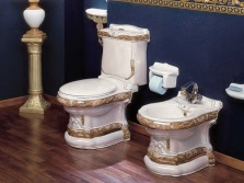The toilet made ​​of porcelain with vertical outlet