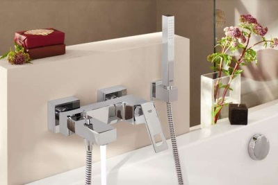 Chrome-plated mixer for bath and shower