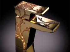 Gold-plated faucet with Swarovski crystals
