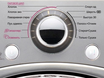 The control panel of the washing machine with a laundry drying function