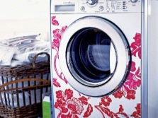 decorated with a narrow washing machine