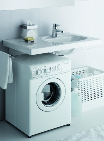 setting up your washing machine with a sink on a flat surface