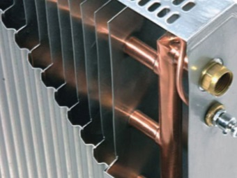 Hot water heating radiators of aluminum and copper bath