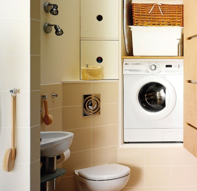 Washing machine with a horizontal load in the niche