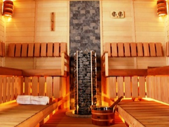 Sauna with an electric stove