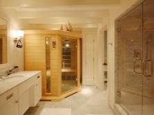 en la sauna en casa tiene que soportar las condiciones de alta humedad y su esqueleto se utiliza acero galvanizado o aluminio