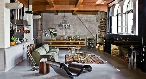 Interiør kjøkken-stue industrielle stilen