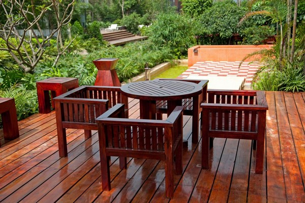 Terrace and porch of the decking boards photo