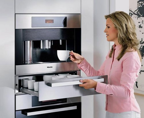 Built-in Miele coffee machine in the modern interior
