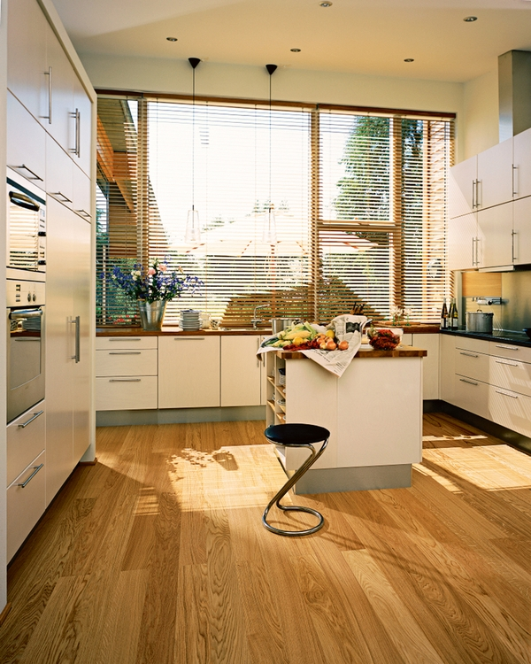 The wooden floor in the kitchen