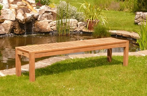 Bench without back made ​​of wood Photo