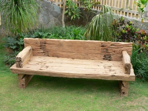 Rough wooden bench for the garden