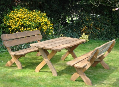 Wooden tables and benches garden