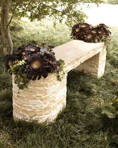 Garden benches made ​​of stone