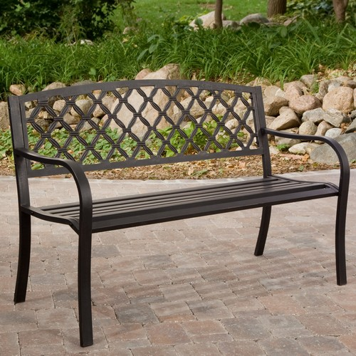 Metal garden bench with a backrest