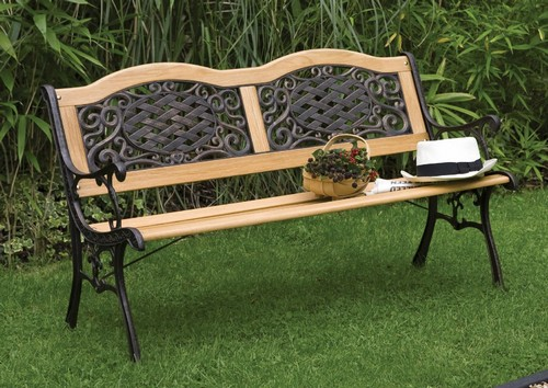 Garden bench in wood and metal