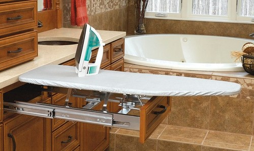 Pull-out ironing board in bathroom