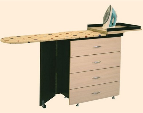 Wooden chest of drawers with ironing board