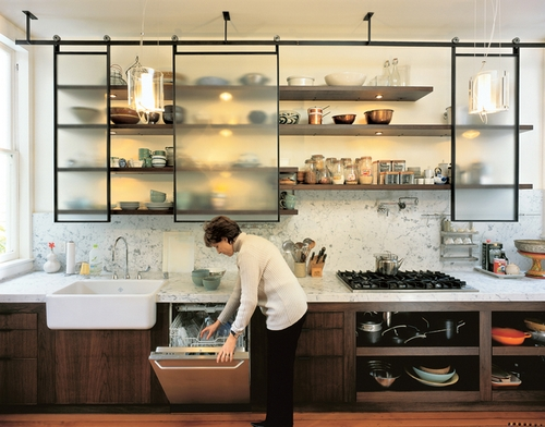 Kitchen shelves with lighting