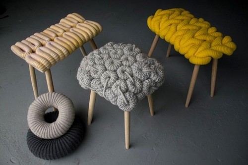 Knitted seat for stools