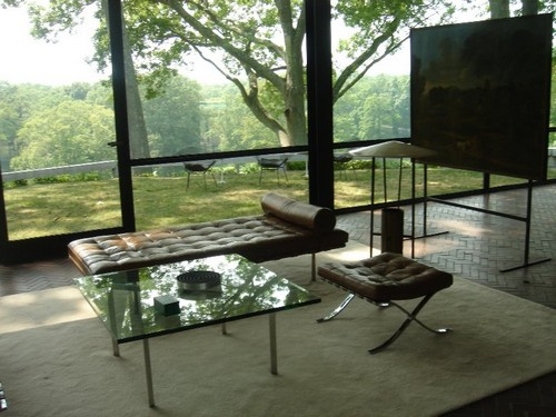Glass coffee tables in the interior