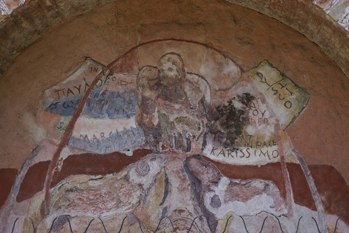 The frescoes in the interior photo