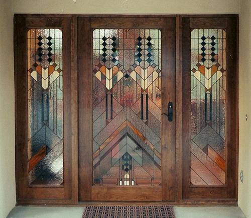 Entrance doors with glass