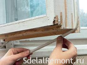 Thermal insulation of old wooden windows with their hands