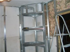 The shelves of plasterboard