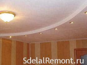 Installation of the two-level ceiling of plasterboard photo