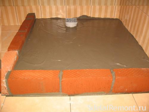 Brick pillow shower tray