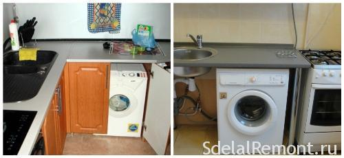 Installation of the washing machine in the kitchen